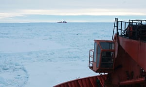 Chinese Antarctic vessel Xue Long, which launched the rescue helicopter, as seen from the deck of the Aurora Australis