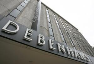 The Debenhams store is seen on Oxford Street.
