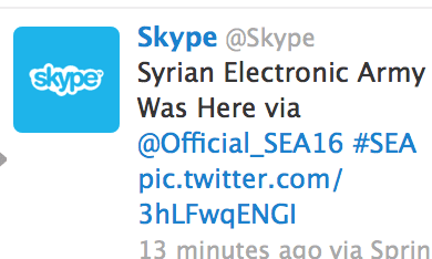 Hacked Skype Twitter account