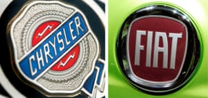 A composite file picture dated 19 February 2007 shows the logo of US American carmaker Chrysler (L) on a Chrysler car in Frankfurt Main, Germany, and a file image dated 24 September 2008 of a FIAT logo on a car in Hanover, Germany.