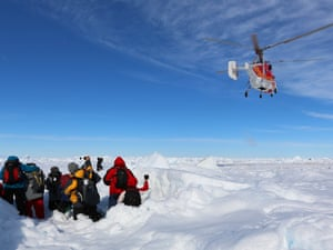Antarctica Live: Helicopter landing to rescue passengers