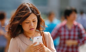 Chinese woman on a smartphone