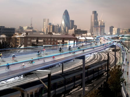 Skyride … How the proposed SkyCycle tracks could look.