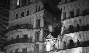 Grand Hotel, Brighton, after a bomb exploded during Conservative party conference on 12 October 1984