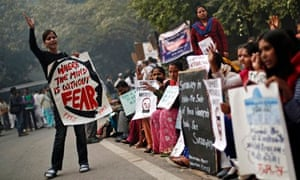 A protest to mark the first anniversary of the Delhi gang rape, in December, 2013.