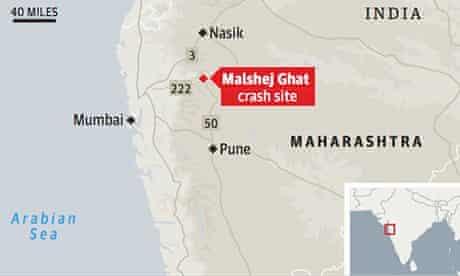 Map showing location of bus crash near Malshej Ghat