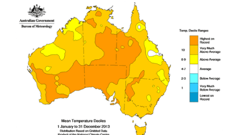 2013 annual mean temperatures compared to historical temperature records