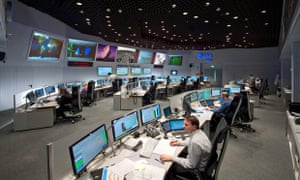 European Space Agency staff at work in the control room of ESA in Darmstadt, Germany