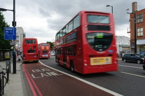 Red Buses and a Bus Lane on Streatham High Road, South London