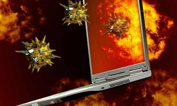 computer malware on fire