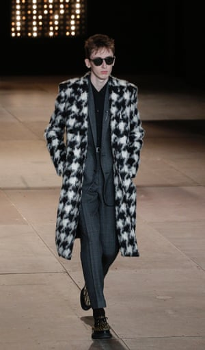 Checked mohair coat in the AW14 Saint Laurent menswear collection.