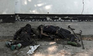 Dead bodies outside the hospital in Bor