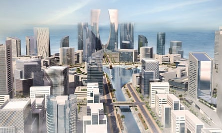 The simulated downtown in Eko Atlantic city, under construction in Lagos, Nigeria.