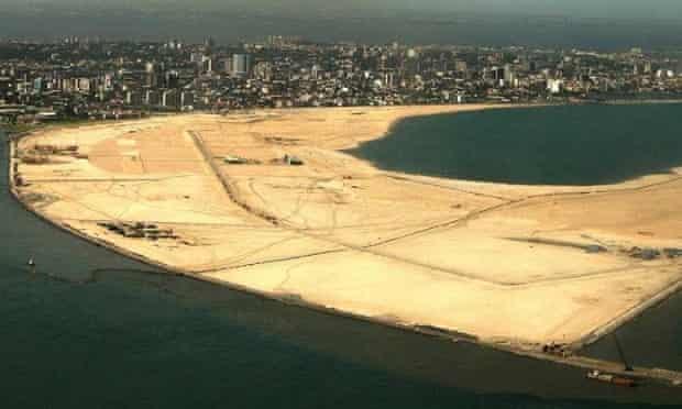 Eko Atlantic city will sit on ten million square metres of land built of sand dredged from the Atlantic Ocean.