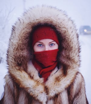 Husky-eyed local girl returning home from university. While the majority of the city's population are indigenous Yakutian, many ethnic Russians and Ukrainians moved to Yakutsk in soviet times, lured by high wages for working in the harsh climate.