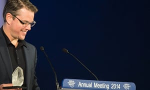 Matt Damon receives the Crystal Award at the 44th annual meeting of the World Economic Forum in Davos.
