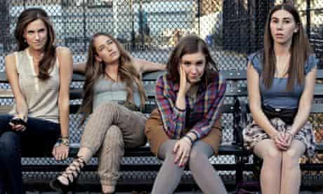 Allison Williams, Jemima Kirke, Lena Dunham and Zosia Mamet on a bench