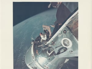 David Scott climbs through the hatch of the command module of Apollo 9, March 1969