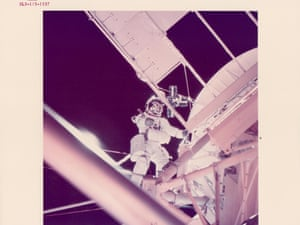 Owen Garriott working outside the spacecraft, Skylab 3, August 1973.