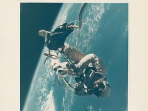 Edward White performing the US's first spacewalk, in Earth orbit, Gemini 4, June 1965.