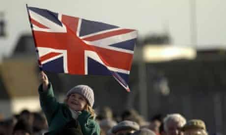 Girl holding UK flag