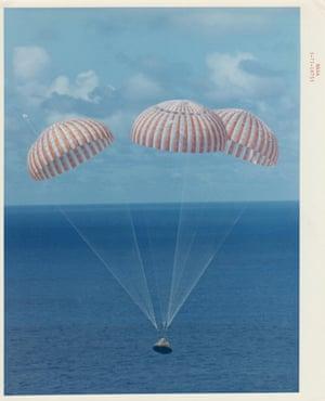 Splashdown of the Apollo 14 command module, February 1971.