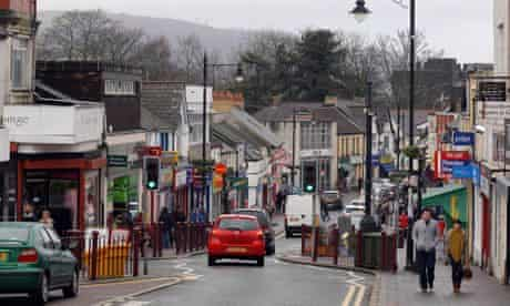 A high street in Wales