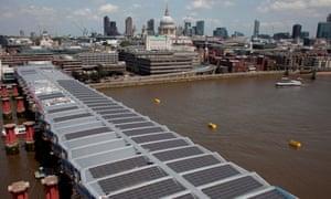 Solar panels on Blackfriars bridge in London