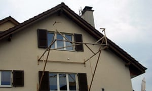 Outline of a proposed balcony on a house in Basel, Switzerland. Photograph: Bauprofil