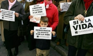 Anti-abortion activists demonstrate in Seville