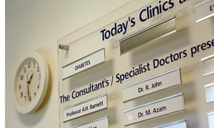 NHS hospital board showing consultants