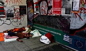 Homeless Greek metro station