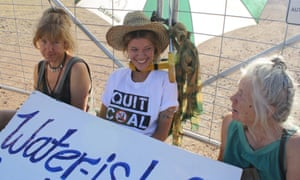 Kate Warren after she locked herself to the gate at Whitehaven's Maules Creek coal mine
