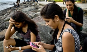 Young people on smartphones