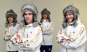 Czech ski jumpers present new olympic suit for The Sochi Olympic Winter Games 2014.