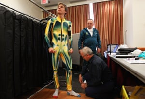 Australian cross-country skier Ben Sim tries on his race apparel at an Australian Olympic team fitting session on February 8, 2010 in Vancouver, Canada.