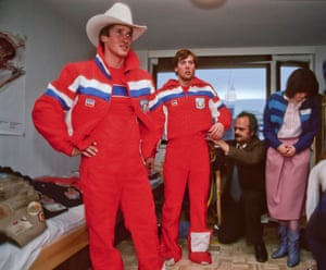 Skiers Bill Johnson and Doug Lewis of the USA Olympic Team try on their uniforms prior to the 1984 Winter Olympics held in Sarajevo.