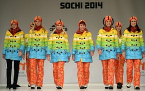 Models and German athletes present the official German olympic team's outfit for the Olympic games in Sotchi.