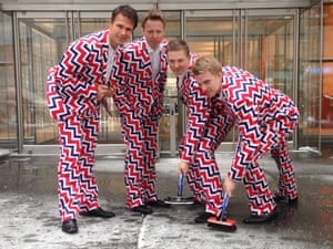 Members of the Norway's Men's Olympic Curling Team from left Thomas Ulsrud, Torgor Nergard, Christoffer Svae, and Havard Vad Petersson wear their new Sochi 2014 suits.