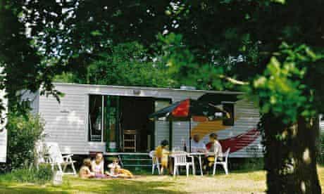 Eurocamp - family outside motorhome
