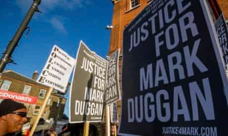 Mark Duggan vigil outside Tottenham police station in London