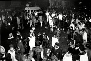 Brixton: Mounted police control crowds of fans as they leave Brixton Academy in 1987