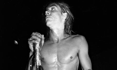 Iggy Pop onstage in the 70s.