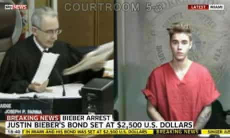 A video grab shows Justin Bieber appearing at Miami-Dade circuit court via video link from Richard Gerstein justice building.