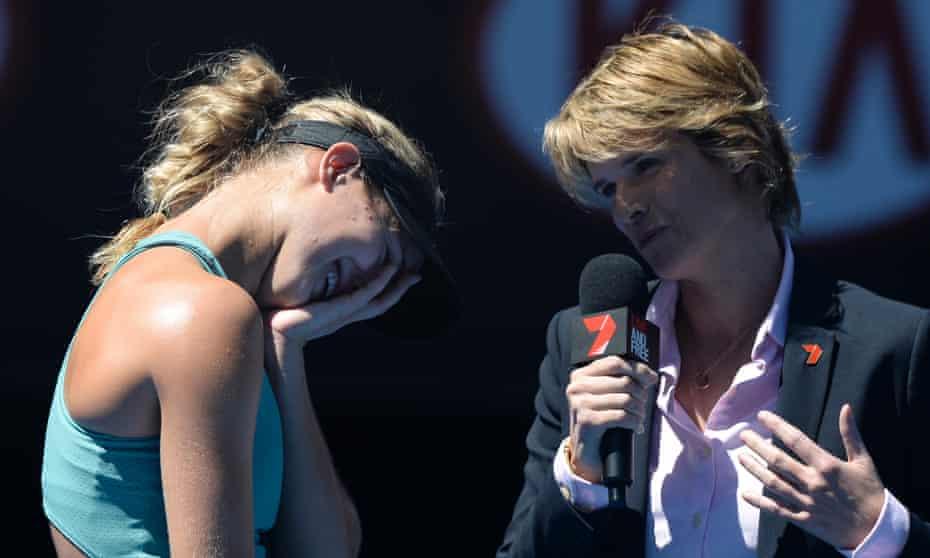Eugenie Bouchard interviewed after her Australian Open quarter-final win over Ana Ivanovic.