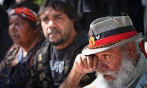 Teddy Hopkins, an elder member of the aboriginal community, during a protest at the Queensland Parliament following the evacuation and arrest of members of the Aboriginal Tent Embassy.