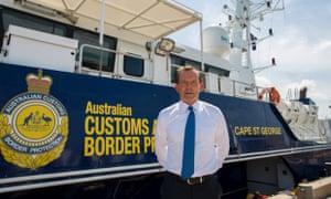 Tony Abbott with operation sovereign borders boat in Darwin