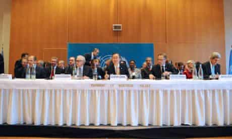 Delegates to the international conference on Syria, which started in Montreux
