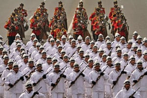 Indian army soldiers take part in the full dress rehearsal for the Republic Day parade in Kolkata.