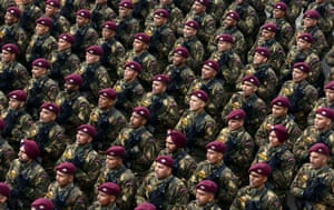 Para Commandos, a special forces unit of the Indian Army march through the Rajpath during the final rehearsal of Republic Day parade in New Delhi.